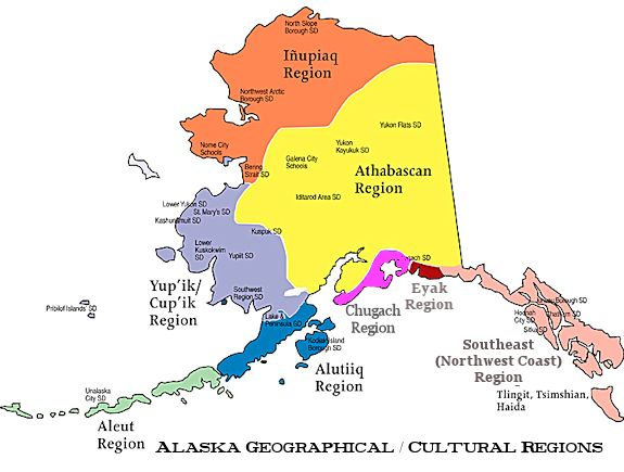 Alaskan natives culture areas map