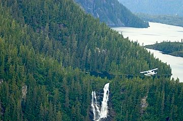 Misty Fjords National Monument and waterfall on Arnette Island, AK