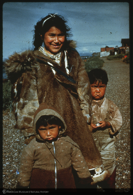 Children in seal fur coats, Deering Alaska