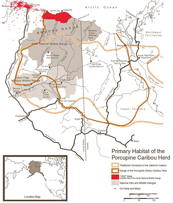 Gwich'in Territory and Porcupine Caribou Herd Map