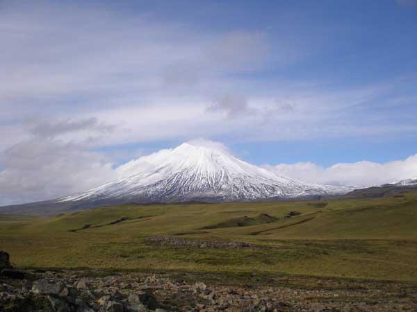 Mt. Vsevidof, a 6,900 foot volcano on Umnak Island.